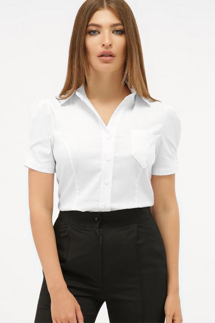 персиковая блузка с коротким рукавом. блуза Эльза к/р. Цвет: белый
