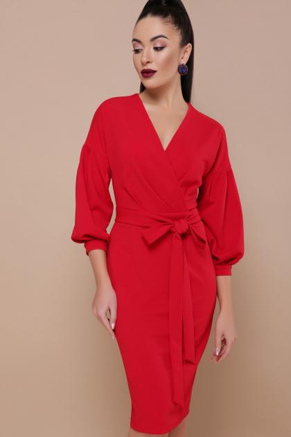 голубое платье с поясом. Платье Одри д/р. Цвет: красный