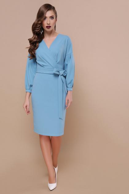 васильковое платье с запахом. Платье Одри д/р. Цвет: голубой