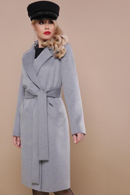 темно-синее классическое пальто. пальто П-323-100. Цвет: серый