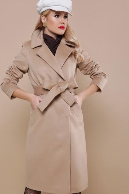 темно-синее классическое пальто. пальто П-323-100. Цвет: бежевый
