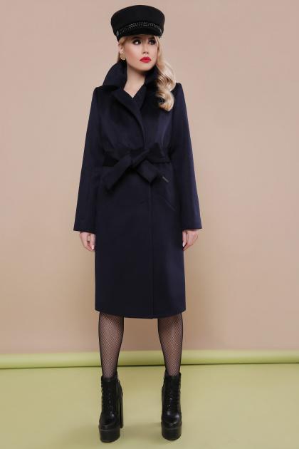 темно-синее классическое пальто. пальто П-323-100. Цвет: т.синий
