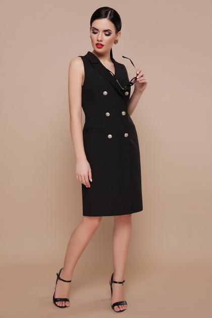 черное платье жилет. платье-жилет Жасмин. Цвет: черный