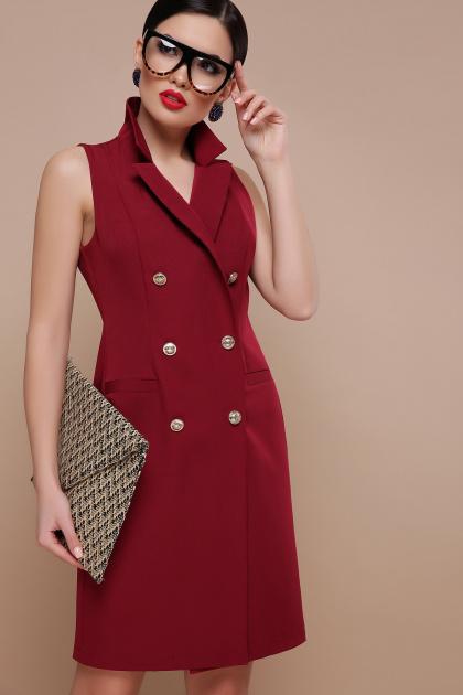 деловое бордовое платье. платье-жилет Жасмин. Цвет: бордо