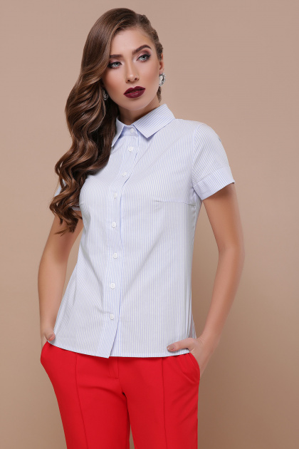 офисная блузка в полоску. блуза Рубьера к/р. Цвет: голубая м.полоска