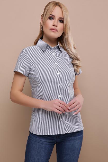 . блуза Рубьера к/р. Цвет: серая м. полоска
