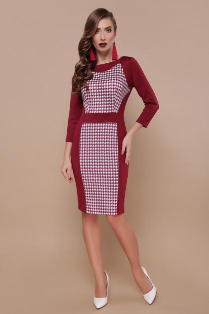 бордовое трикотажное платье. Бордо лапка Шанель-П платье д р. Цвет  86de5721866