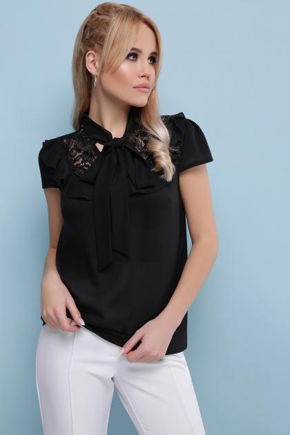 черная блузка с бантом. блуза Федерика к/р. Цвет: черный