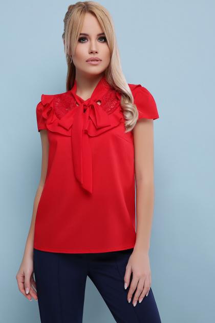 черная блузка с бантом. блуза Федерика к/р. Цвет: красный