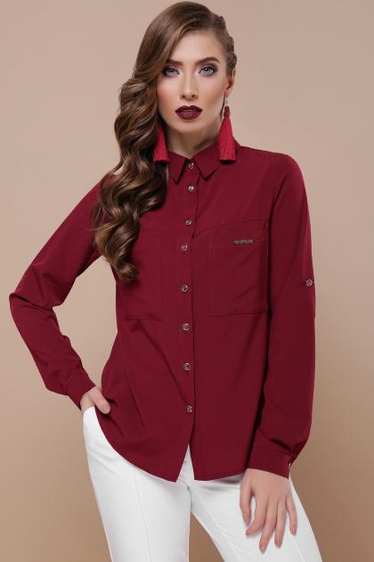 деловая темно-зеленая рубашка. блуза Кери д/р. Цвет: бордо