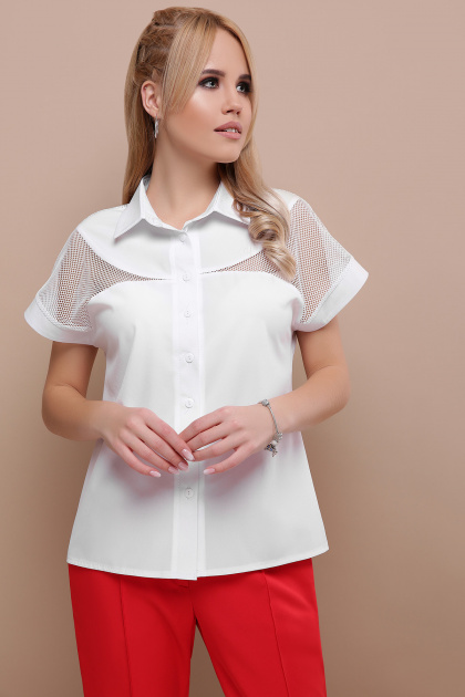 белая блузка со вставками. блуза Сафо к/р. Цвет: белый