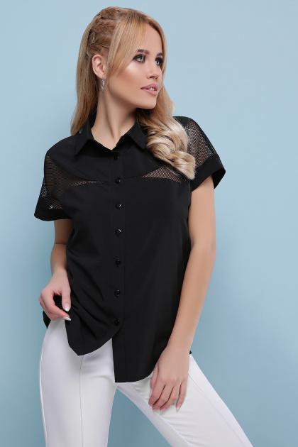 белая блузка со вставками. блуза Сафо к/р. Цвет: черный