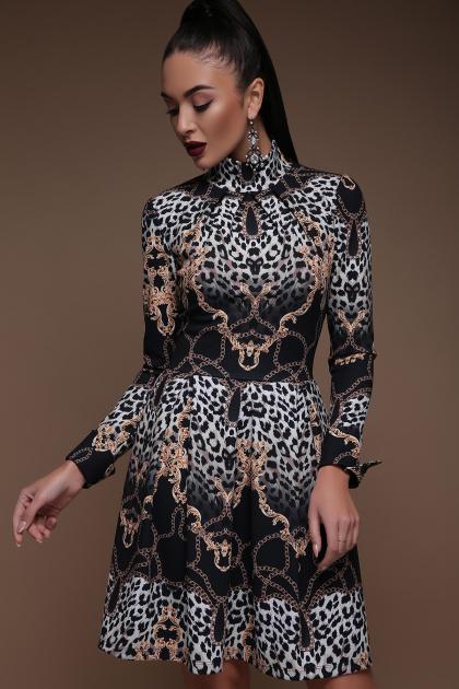 леопардовое платье со складками. Леопард-цепи платье Эльнара д/р. Цвет: принт