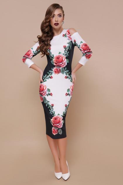платье миди с вырезами на плечах. Розы платье Лила д/р. Цвет: черный