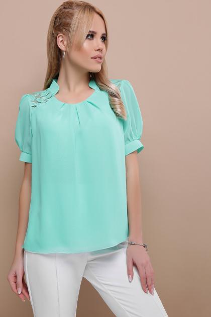 мятная шифоновая блузка. блуза Римма к/р. Цвет: мята