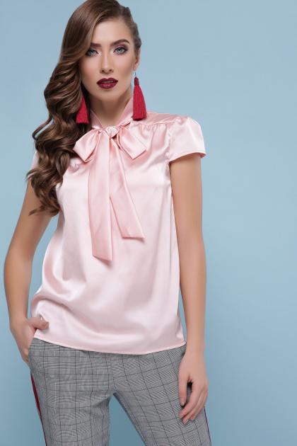 мятная блузка с бантом. блуза Филипа к/р. Цвет: персик