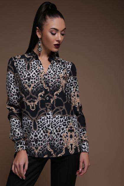 леопардовая блузка с длинным рукавом. Леопард-цепи блуза Эльвира д/р. Цвет: принт