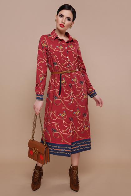 бордовое платье рубашка. Ремешки-бабочки платье-рубашка Зарина д/р. Цвет: бордо