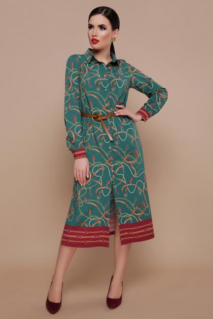 зеленое платье рубашка. Ремешки-цепи платье-рубашка Зарина д/р. Цвет: изумруд