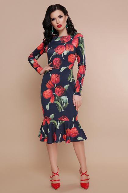 цветочное платье с воланом внизу. Тюльпаны красные платье Фаина д/р. Цвет: черный