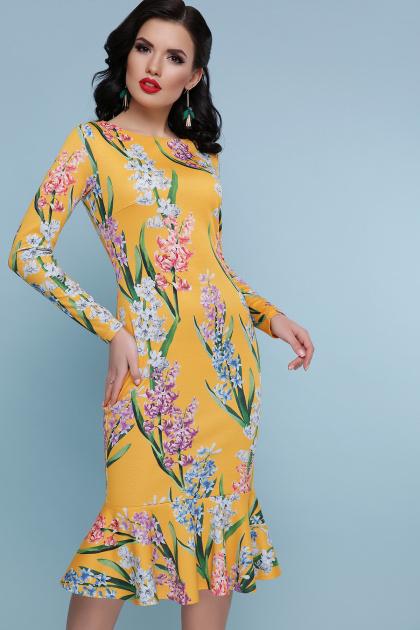 желтое платье с цветочным принтом. Гиацинты платье Фаина д/р. Цвет: желтый