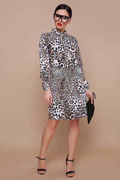 леопардовое платье с длинным рукавом. Леопард платье Азиза д/р. Цвет: принт