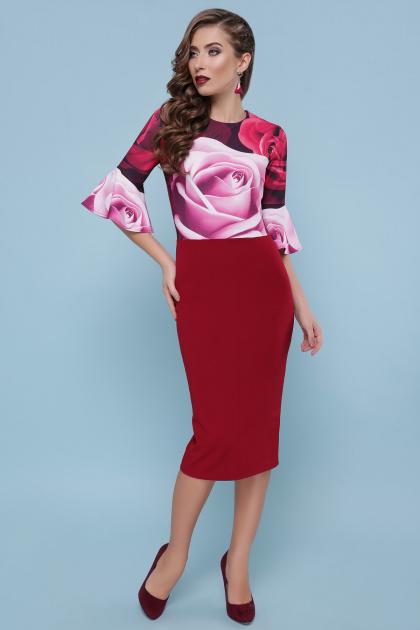 бордовое платье с розами. Розы платье Джес д/р. Цвет: бордо