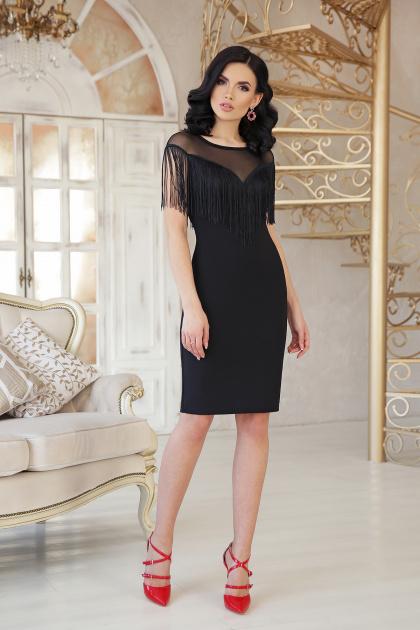 ярко-синее платье с бахромой. платье Шерон 2 б/р. Цвет: черный