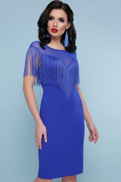 ярко-синее платье с бахромой. платье Шерон 2 б/р. Цвет: электрик