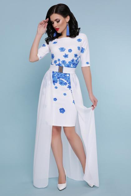 . Голубые цветы платье Кейтлин к/р. Цвет: белый