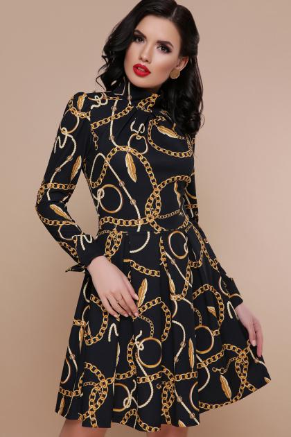 черное платье с цепями. Перья-цепи платье Эльнара д/р. Цвет: принт