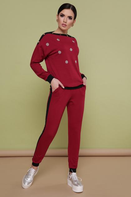 повседневный бордовый костюм. Костюм Флирт. Цвет: бордо
