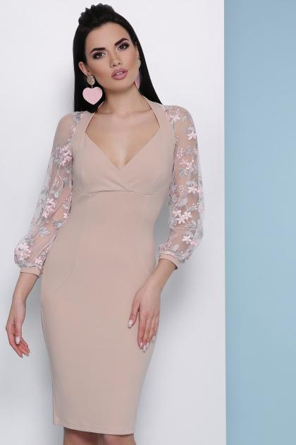 бордовое платье с вышивкой. платье Флоренция В д/р. Цвет: св. бежевый