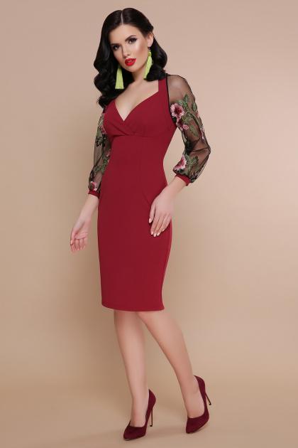 бордовое платье с вышивкой. платье Флоренция В д/р. Цвет: бордо