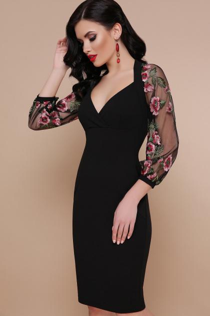 бордовое платье с вышивкой. платье Флоренция В д/р. Цвет: черный