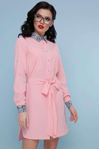 персиковое платье рубашка. Питон платье-рубашка Аврора  д/р. Цвет: персик