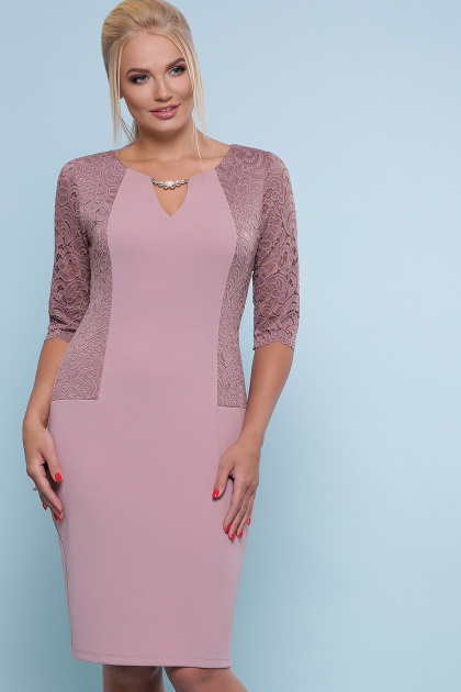 ажурное платье для полных. платье Адина-Б д/р. Цвет: лиловый