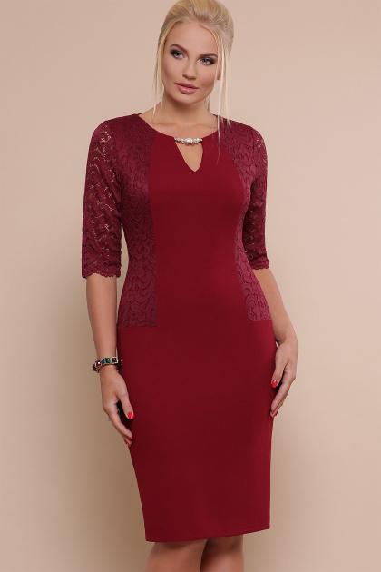 ажурное платье для полных. платье Адина-Б д/р. Цвет: бордо