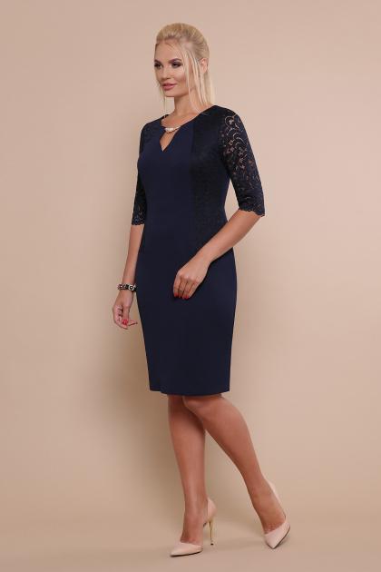 ажурное платье для полных. платье Адина-Б д/р. Цвет: синий