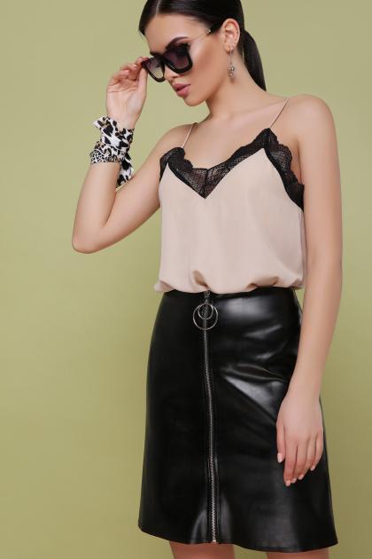 кожаная юбка с молнией. юбка мод. №35. Цвет: черный