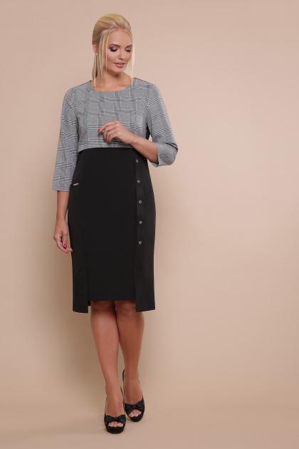 офисное платье батального размера. платье Регина-Б 3/4. Цвет: черный-серая клетка