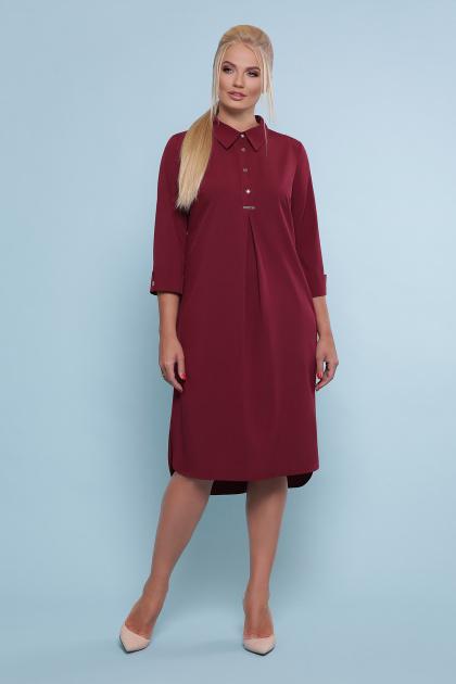 батальное платье рубашечного кроя. платье-рубашка Власта-Б 3/4. Цвет: бордо