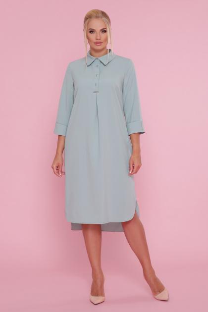 батальное платье рубашечного кроя. платье-рубашка Власта-Б 3/4. Цвет: оливковый
