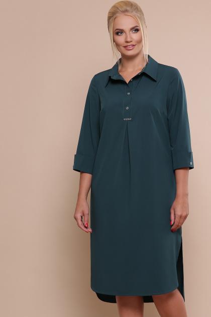 батальное платье рубашечного кроя. платье-рубашка Власта-Б 3/4. Цвет: изумруд