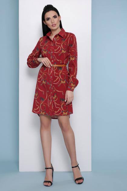 платье-рубашка с принтом. Ремешки-бабочки платье-рубашка Аврора П д/р. Цвет: бордо