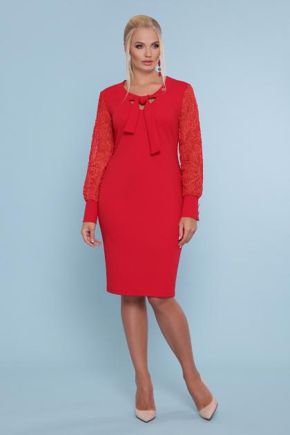 батальное красное платье. платье Нелли-Б д/р. Цвет: красный