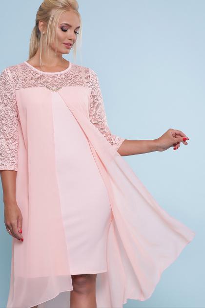 персиковое платье для полных женщин. платье Муза-Б 3/4. Цвет: персик