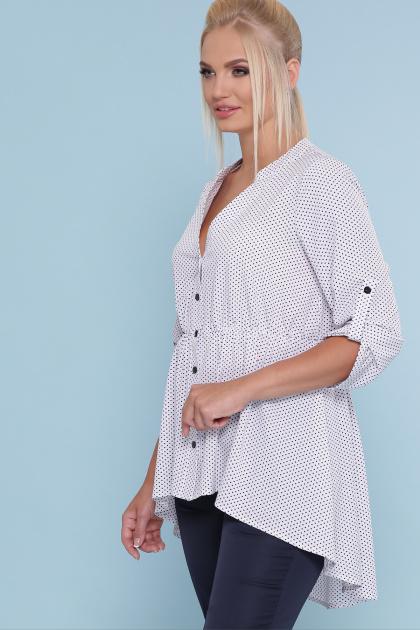 батальная блузка в горошек. блуза Санди-Б 3/4. Цвет: белый-черный м. горох