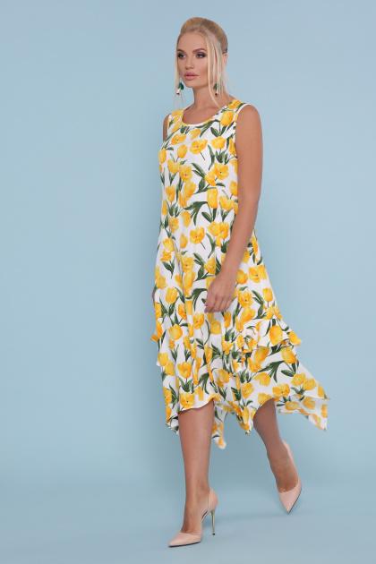 цветастый сарафан больших размеров. сарафан Сабина-Б. Цвет: белый-тюльпаны желтые