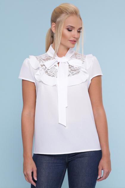 черная блузка батал. блуза Федерика-Б к/р. Цвет: белый